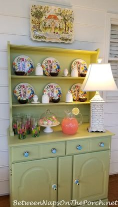 Spring Hutch on Screened Porch Decorating Blogs, Porch Decorating, Home Decor Kitchen, Diy Home Decor, Easter Pillows, Porch Makeover, Back Patio, Cool Diy Projects, Kitchen