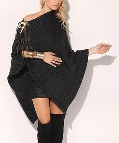 Take a look at this Anthracite Twist Poncho by Yasosh on #zulily today!