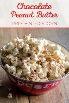 Need a sweet treat for your scary movie marathon? Try our delicious chocolate-peanut butter protein popcorn. Get the tasty recipe here! Peanut Butter Popcorn, Peanut Butter Protein, Chocolate Peanut Butter, Healthy Popcorn, Popcorn Recipes, Snack Recipes, Whey Recipes, Protein Powder Recipes, Protein Recipes
