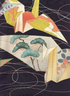 detail of silk tomesode, Taisho era (1912-1926). Yorke Antique Textiles