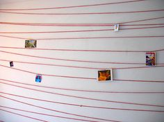 Quick & Cheap: Hanging with string - use as the statement wall in kitchen with themed post cards Prayer Wall, Prayer Room, Prayer Stations, Photo Displays, Display Photos, Hanging Pictures, Inspiration Wall, Crafts, Design