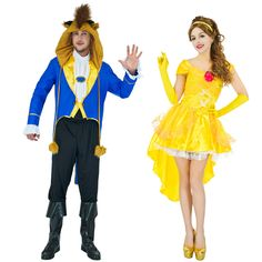 Beauty And The Beast Costume Adults Women Sassy Belle Princess Wild Beast Prince Costume