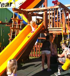 Your little tykes can swing and slide their way through the fair! The Rainbow Play systems are a great stop for free and active fun. On the west side of Underwood between Wright and Dan Patch.