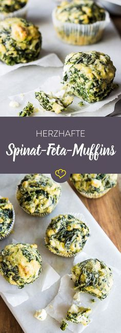 Mach deine Muffins mal herzhaft: Mit Feta und Spinat schlagen diese schnellen, würzigen Küchlein zum Feierabend jede Tiefkühlpizza um Längen.