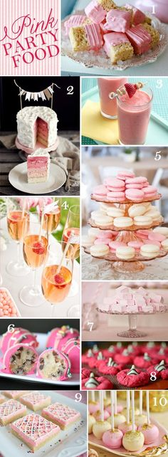 10 Pink Party Foods + Drinks I want to have a girl party and have all these pink foods. Pink Party Foods, Pink Foods, Party Food And Drinks, Pink Parties, Birthday Parties, Birthday Ideas, Party Fiesta, Dessert Table, Sweet 16