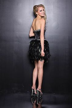 Black Feather Fitted Corset Vegas Style Strapless Short Fur Designer Prom Dress | eBay