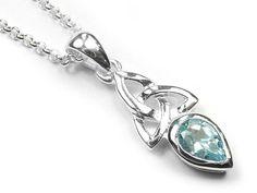 Silver Pendant - Celtic Trinity Topaz Blue Topaz Stone, Celtic Designs, Silver Pendants, Simply Beautiful, Birthstones, Sterling Silver Jewelry, Swarovski Crystals, Feminine, Chain