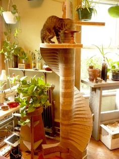 Helical Cat Tower - made from recycled cardboard that was used to ship solar panels.This cardboard is super thick and will last a long time. Cardboard Furniture, Pet Furniture, Cardboard Crafts, Furniture Design, Cat Towers, Cats Diy, Cat Room, Cat Condo, Space Cat