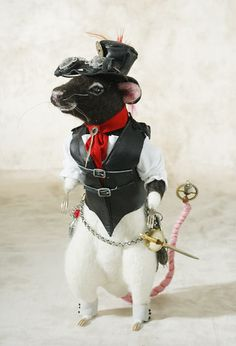 Gaslight Steampunk Rat In Red Ascot By Stevi T's Alpaca Encounters At The Toy Shoppe