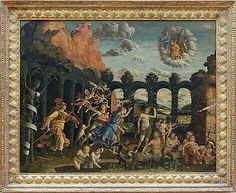 Andrea Mantegna (1431–1506) Triumph of the Virtues Minerva Expelling the Vices from the Garden of Virtue Combat of Love and Chastity Object typePaintingDate1499Mediumtempera and oil on canvasDimensionsHeight: 160 cm (63 in). Width: 192 cm (75.6 in).Current location Louvre