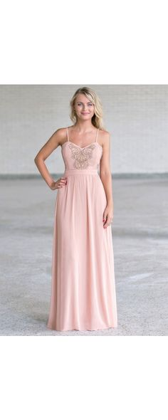 Lily Boutique Pure Enchantment Embroidered Chiffon Maxi Dress in Blush, $48 Blush Pink and Gold Maxi Dress, Cute Formal Maxi Dress www.lilyboutique.com