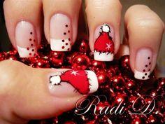 Santa Cap Christmas Nail Art For Short Nails Design - Cute Christmas Nail Art For Short Nails - LoveItSoMuch.com      @Andria Lo Doerflein make mine look pretty like this lol