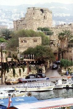 The crusader castle overlooks the Phoenician harbor, Byblos جبيل , Lebanon
