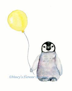 Imprime animales infantiles pingüino con por Marysflowergarden