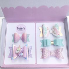 Pastel Unicorn Gift Set, Pastel Rainbow Glitter Bow, Mint Wool Felt Bow, Purple Gift - D.Y - Baby Headbands Baby Bows, Baby Headbands, Baby Hair Clips, Flower Headbands, Bow Template, Do It Yourself Inspiration, Tulle Bows, Diy Accessoires, Barrettes
