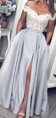 Off Shoulder Silver Grey Side Slit Evening Prom Dresses, Evening Party – Lover. - Off Shoulder Silver Grey Side Slit Evening Prom Dresses, Evening Party – LoverBridal Best Picture For Prom Dress bodycon For You Source by - Senior Prom Dresses, Pretty Prom Dresses, Prom Dresses Blue, Cheap Prom Dresses, Prom Party Dresses, Dance Dresses, Evening Dresses, Grey Prom Dress, Dresses Dresses