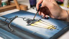 How to draw Street Old Lantern - Acrylic painting / Homemade Illustratio...