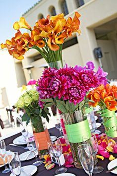 Gold Green Orange Pink Purple Red Yellow Centerpiece Centerpieces Summer Wedding Flowers Photos & Pictures - WeddingWire.com