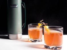 This hot spin on the classic Ward 8 cocktail makes enough for a small crowd of ice skaters or snowshoers—exactly what you'll want after a day out in the cold. Just pack the heated whiskey, citrus, and pomegranate mix into a thermos, and it'll still be warm when you're ready for it.