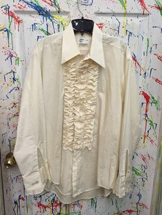 Mens tux ruffled vintage button down long sleeve shirt XL 17 off white with ruffles RagsAGoGo Tux Shirt, Shirt Sleeves, Long Sleeve Shirts, Mens Tux, Button Downs, Off White, Ruffles, Buttons, Trending Outfits