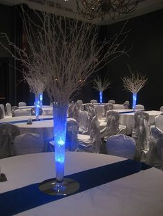 winter centerpieces - use our blue submersible tea lights. http://www.bluedottrading.com/led-tea-lights/submersible-led-tea-lights.html
