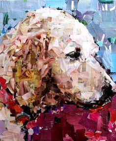 """Golden. Collage on Canvas. 20 x 24"""". 2012. Artist Samuel Price  www.mydogcollage.com"""