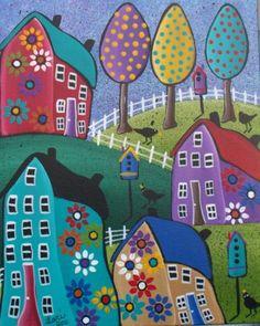 Folk Art, Houses,Tree Art,Whimsical, Tree Of Life