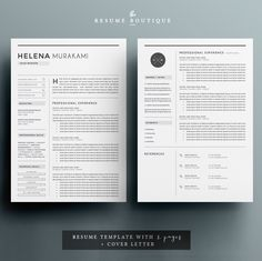 Resume Template 3page | Simplifier by The.Resume.Boutique on @creativemarket