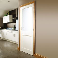 External White Primed Door 2 Panel with Single Obscure Glass Panel. External white oak doors are produced to an extremely high specification from component parts carefully chosen to accommodate the challenges laid down by the UK climate. Glazed External Doors, External Oak Doors, Internal Glazed Doors, Oak Front Door, Wooden Front Doors, White Doors, White Oak, Kitchen Doors, Exterior Doors