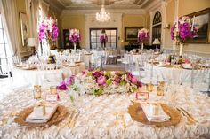 A floral tablecloth creates a romantic, lush tablescape. Complement with a full centerpiece (think: peonies and roses) and soft metallics, such as mercury glass votives and gold chargers.