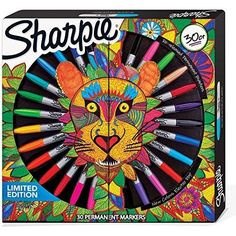 Sharpie Limited Edition Permanent Markers Lion Pack, Assorted Colours, Box of 30 Sharpie Pack, Sharpie Set, Sharpie Colors, Sharpie Markers, Stylo Art, Cool Gifts For Teens, Permanent Marker, Coloring Pages, Coloring Stuff