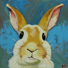 Rabbit painting 45  12x12 inch original oil painting by Roz by RozArt on Etsy https://www.etsy.com/listing/224893038/rabbit-painting-45-12x12-inch-original