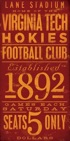 Virginia Tech Hokies football typography graphic art archival giclee print 10 x…