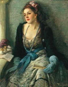 ⊰ Posing with Posies ⊱ paintings of women and flowers - Fernand Toussaint, Flowers in her hair