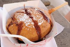 Deep-Fried MoonPie. Dipped in funnel cake batter and deep fried.