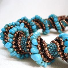 cellini spiral | Turquoise Treasure Cellini Spiral Beadwoven by littlestonedesign