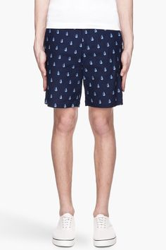 BAND OF OUTSIDERS Navy blue twill Tailored sailboat Shorts, men's summer clothing