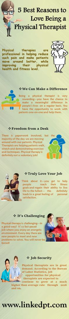 In 2016, #Physicaltherapists are in high demand and has great #job career opportunities. Physical therapies are helping patients to improve their physical health and fitness level. This infographic shown you, the Best Five Reasons to Love Being a Physical Therapist. http://www.linkedpt.com/