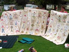 anni downs | Some Kind of Wonderful Quilt' by Anni Downs Annie Downs, Picnic Blanket, Outdoor Blanket, Show And Tell, Quilt Blocks, Folk Art, Applique, Patches, Diy Crafts