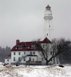 Great Lakes Lighthouses: Rawley Point Lighthouse, Rawley Point, WI  Point Beach State Forest Park, (Two Rivers Point on Rawley's Point) Lake Michigan  1874