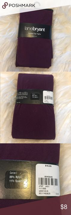 Lane Bryant tights eggplant color new leggings Lane Bryant brand-new still in package a purple eggplant color, leggings tights. Size C/D. See sizing chart on package Lane Bryant Pants Leggings