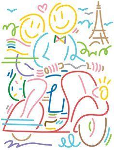 Portfolio of Jordy van den Nieuwendijk Sainte Colette, Abstract Face Art, Paint Line, Newsletter Design, Line Illustration, Easy Paintings, Stone Painting, Line Drawing, Book Design