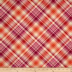 Joel Dewberry Notting Hill Tartan Tangerine from @fabricdotcom Designed by Joel Dewberry for FreeSpirit, this fabric features a plaid motif. Perfect for quilting, apparel and home decor accents. Colors include cream, tangerine and magenta.