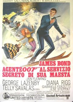 On Her Majesty's Secret Service (United Artists, Italian 2 - Foglio X James Bond. - Available at Sunday Internet Movie Poster. Roger Moore, Sean Connery, Service Secret, George Lazenby, Bond Series, James Bond Style, Italian Posters, James Bond Movies, Fantasy Films