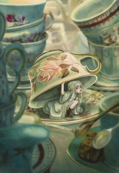 Alice under the cup by Benjamin Lacombe