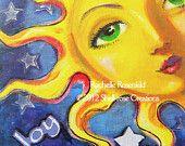 Items similar to Sun face painting Celestial goddess art Original 8 x whimsical decor CaaT on Etsy Sun Moon Stars, My Sun And Stars, Sun Painting, Good Day Sunshine, Globe Art, Sun Art, Goddess Art, Decoupage, Moon Child