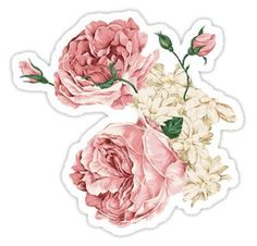 Flower Drawing Rambling Rose Flowers Sticker - Add some whimsy to your life with beautiful wild roses Bubble Stickers, Cool Stickers, Printable Stickers, Laptop Stickers, Free Stickers, Journal Stickers, Planner Stickers, Plant Drawing, Aesthetic Stickers