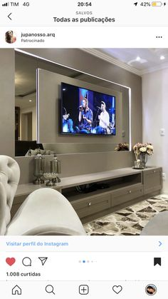 Modern Tv Room, Living Room Modern, Home Living Room, Living Room Decor Fireplace, Living Room Mirrors, Small House Interior Design, Home Room Design, Living Room Tv Unit Designs, Living Room Decor Inspiration