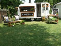 The Wandering Sidecar Bar Company offers two mobile bars for hire in the midwest. This 1960 Avalon is warmly named Ruthie. Mobile bar, vintage caravan, bar, camper.