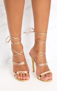 642696f0bbcd Rose Gold Thin Strappy Lace Up Heels